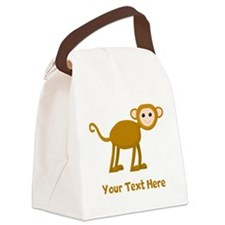 Monkey and Text. Canvas Lunch Bag