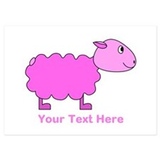 Pink Sheep with Custom Text. Invitations