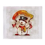 Merry Christmas snowman frame Throw Blanket