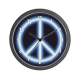 Blue Peace Symbol Wall Clock