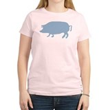 Light Blue Pig Silhouette T-Shirt
