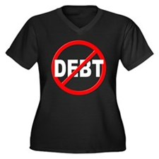 Anti / No Debt Women's Plus Size V-Neck Dark T-Shi