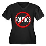 Anti / No Politics Women's Plus Size V-Neck Dark T