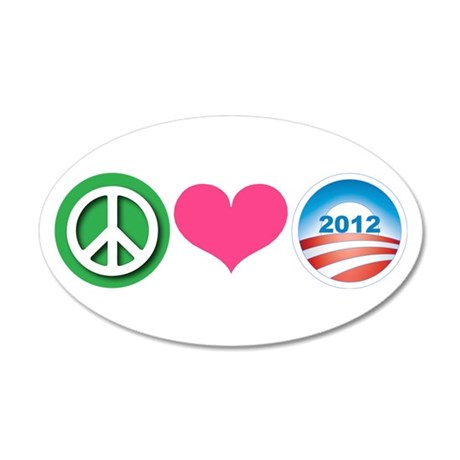 Peace, Love, Obama 20x12 Oval Wall Decal