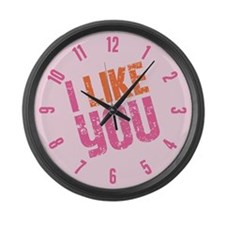 I Like You (pink) Large Wall Clock