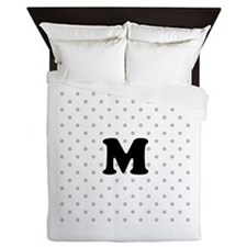 Your Letter on Gray dots. Queen Duvet