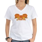 Halloween Pumpkin Jamie Women's V-Neck T-Shirt