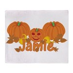 Halloween Pumpkin Jamie Throw Blanket