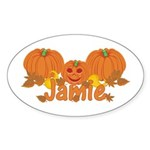 Halloween Pumpkin Jamie Sticker (Oval)