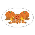 Halloween Pumpkin Jamie Sticker (Oval)