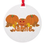 Halloween Pumpkin Jamie Round Ornament
