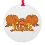 Halloween Pumpkin Jamie Round Ornament