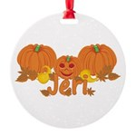 Halloween Pumpkin Jeri Round Ornament