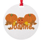 Halloween Pumpkin Joanne Round Ornament