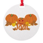 Halloween Pumpkin Jodi Round Ornament