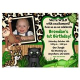 Jungle Safari Birthday Invitations 5x7 Flat Cards