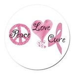 Peace Love Cure (Pink Ribbon) Round Car Magnet