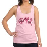 Peace Love Cure (Pink Ribbon) Racerback Tank Top