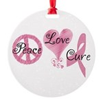 Peace Love Cure (Pink Ribbon) Round Ornament