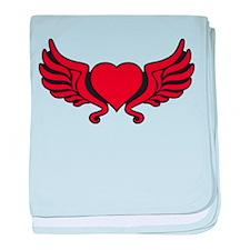 heart wings tribal floral crown baby blanket