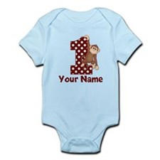 1st Birthday Monkey Red Infant Bodysuit