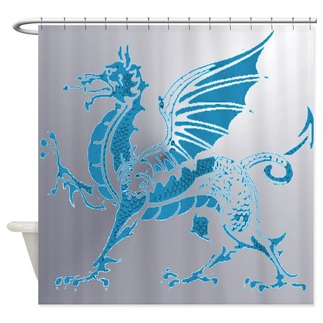 Blue silver dragon shower curtain by arwensgraphicdesigns1 for Blue and silver bathroom accessories