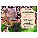 Jungle Safari Girls Invitations 5x7 Flat Cards
