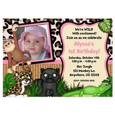 Jungle Safari Girls Invitations Invitations