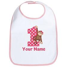 First Birthday Girl Monkey Bib