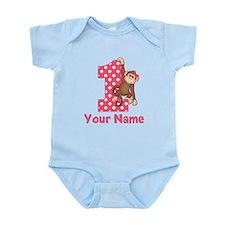 First Birthday Girl Monkey Infant Bodysuit