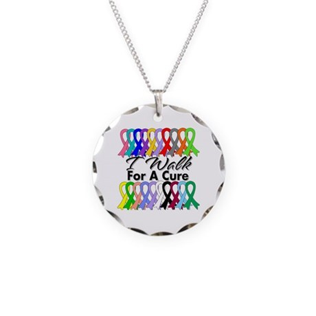 Cancer I Walk For A Cure Necklace Circle Charm