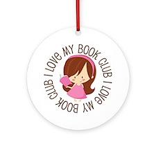 I Love Book Club Reading Ornament (Round)