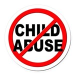 Anti / No Child Abuse Round Car Magnet
