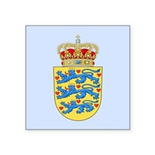 "Denmark Coat Of Arms Square Sticker 3"" x 3"""