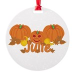 Halloween Pumpkin Julie Round Ornament