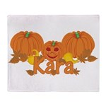 Halloween Pumpkin Kara Throw Blanket