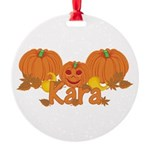 Halloween Pumpkin Kara Round Ornament