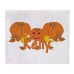 Halloween Pumpkin Kelly Throw Blanket