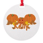 Halloween Pumpkin Kelly Round Ornament