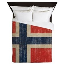 Vintage Norway Flag Queen Duvet