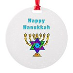 Happy Hanukkah Round Ornament