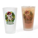 Merry Christmas Bulldog.png Drinking Glass