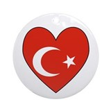 Turkish Flag Heart Valentine Ornament (Round)