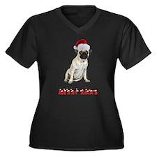 Pug Christmas Women's Plus Size V-Neck Dark T-Shir