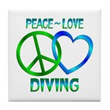 Peace Love Diving Tile Coaster