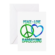 Peace Love Barbecuing Greeting Cards (Pk of 20)