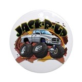 White Jack-R-Up Ram Ornament (Round)