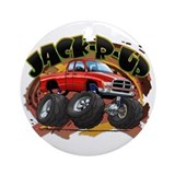 Red Jack-R-Up Ram Ornament (Round)
