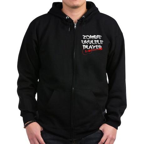 Zombie Ukulele Player Zip Hoodie (dark)