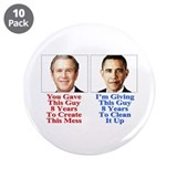 "Give Obama 8 Years 3.5"" Button (10 pack)"